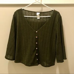 H&M Boxy Knit V-Neck Top